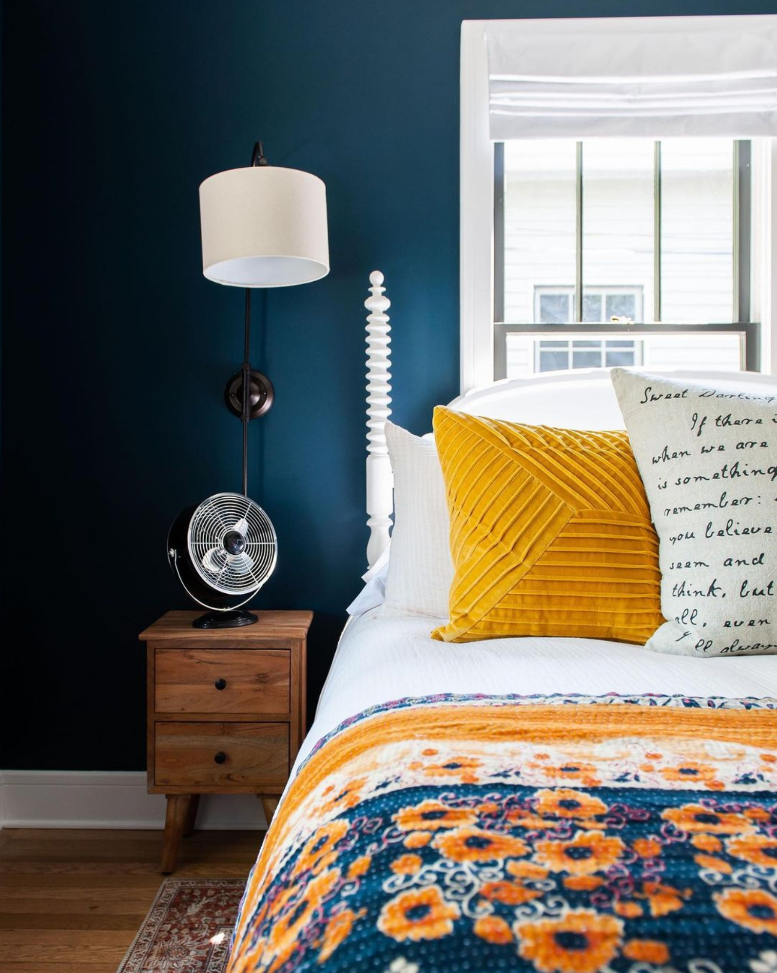Best Navy and Mustard Bedroom Ideas - Image via Instagram @lfh_homeblend, photo by @rubyandpeachphoto, wall color by Farrow & Ball in 'Hague Blue'