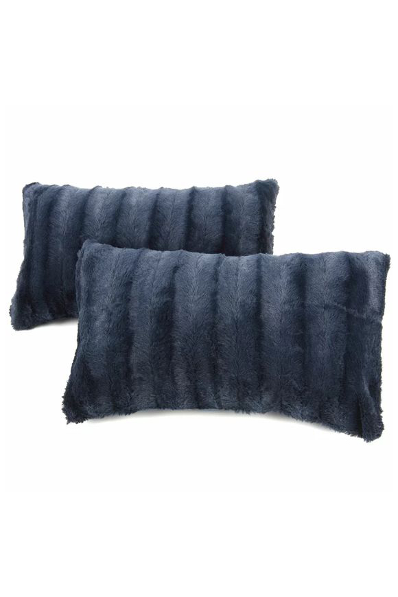 Faux Fur Navy Throw Pillows via Wayfair