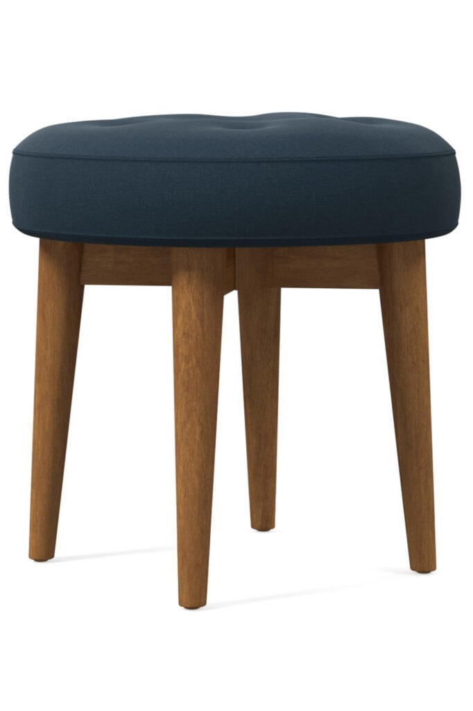 Navy Mid Century Footstool via West Elm