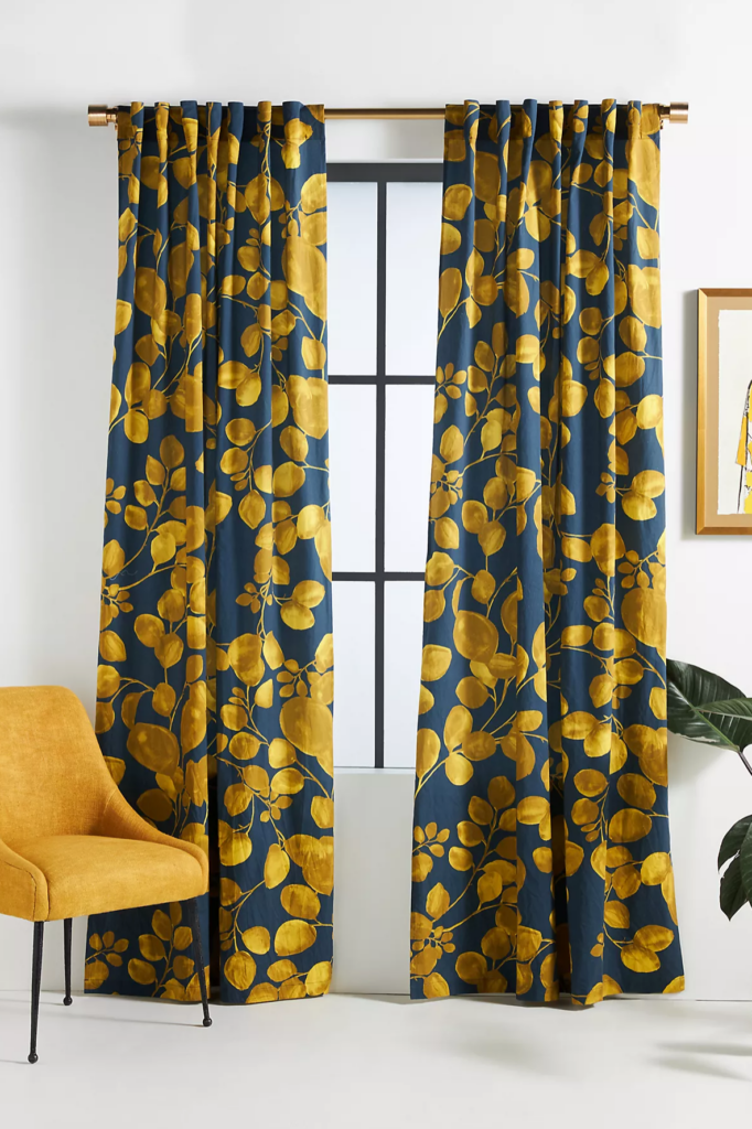 Mustard and Navy Curtains via Anthropologie