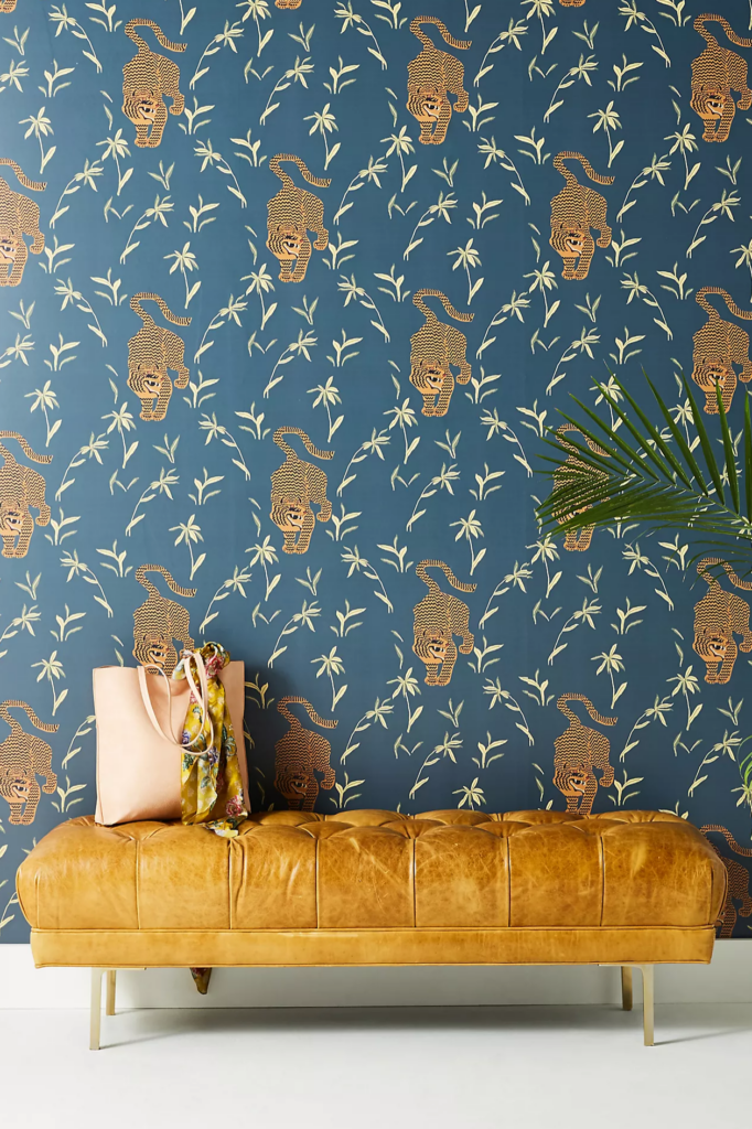 Navy and Mustard Wallpaper via Anthropologie