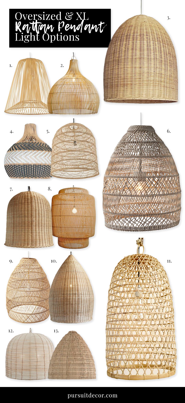 15+ Stylish Oversized and Extra Large Rattan Pendant Light Options - Pursuit Decor
