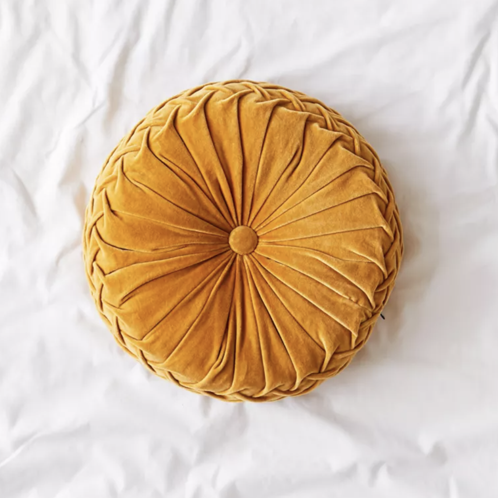 Round Mustard Velvet Pillow via UO