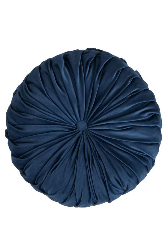 Round Navy Velvet Pillow via Wayfair
