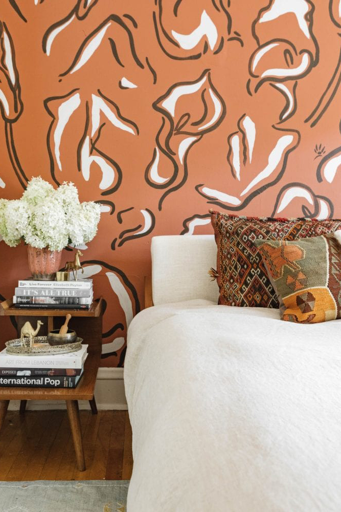 EARTH TONES: Terracotta Bedroom Ideas and Paint Colors - Image via Wit & Delight, feat. paint color 'Cavern Clay' by Sherwin-Williams