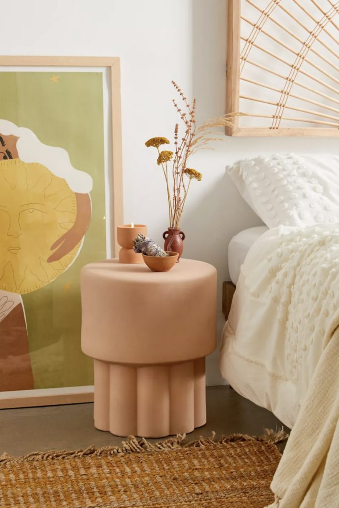 EARTH TONES: Terracotta Bedroom Ideas and Paint Colors - feat. Mila Scallop Ceramic Stool in Rust via Urban Outfitters