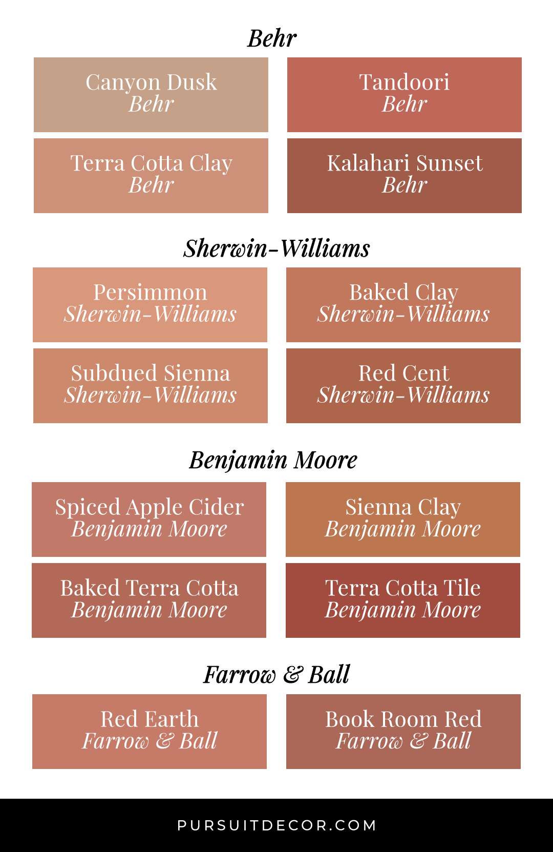 Earth Tones: Terracotta Bedroom Ideas and Paint Colors - feat. paint colors from Behr, Sherwin-Williams, Benjamin Moore and Farrow and Ball.
