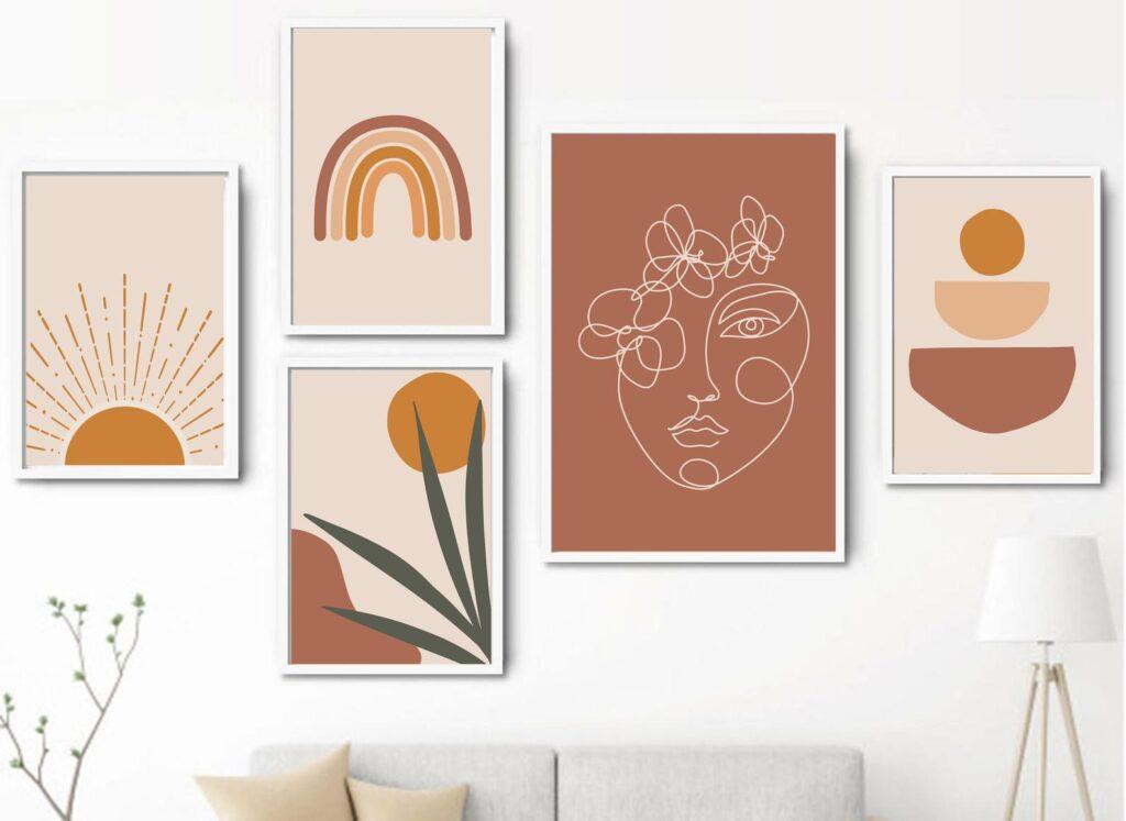 Abstract Boho Art Set of 5 via Etsy (LiberartAtelier)