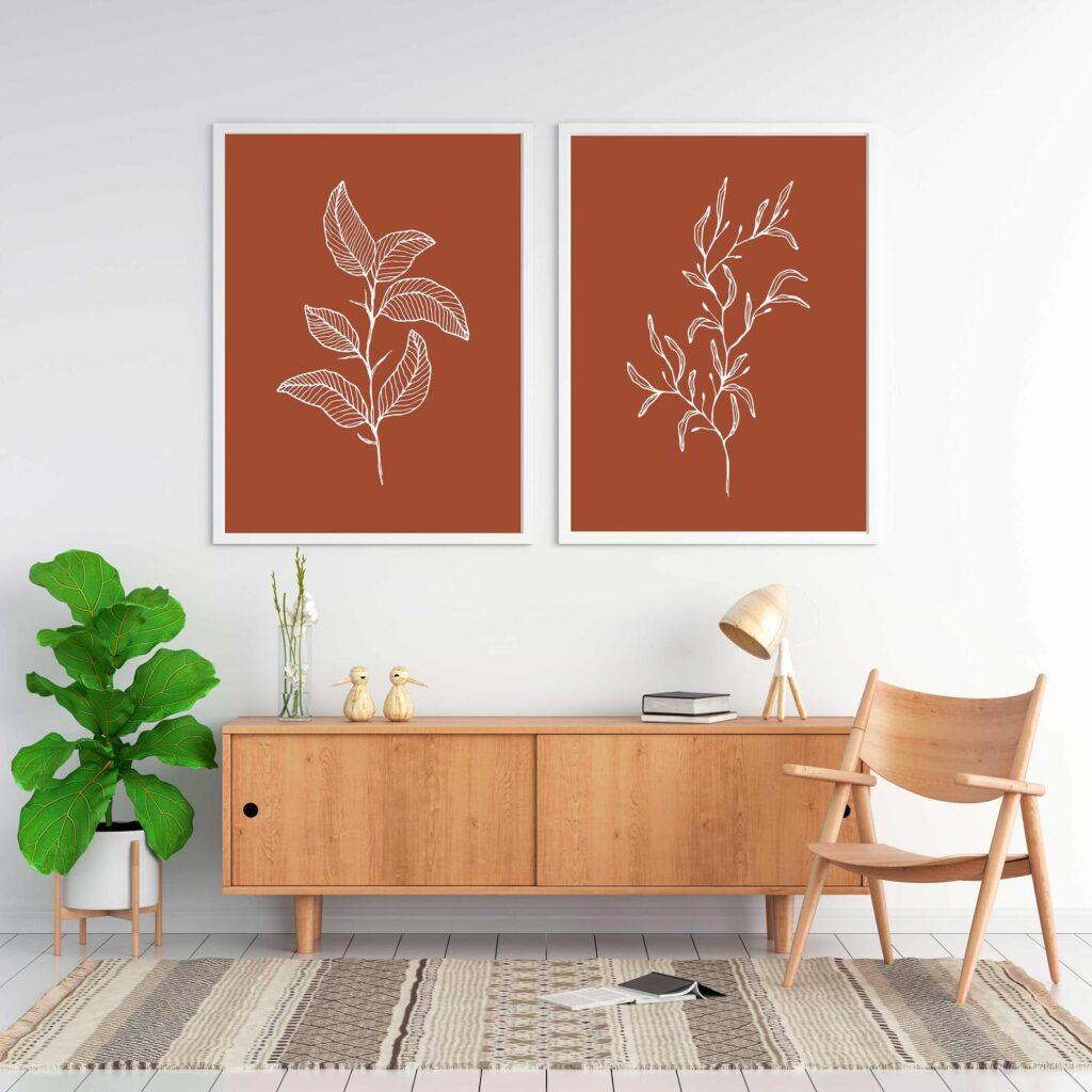 Abstract Burnt Orange Leaf Printable Wall Art Set of 2 via Etsy (Essentially Nomadic)