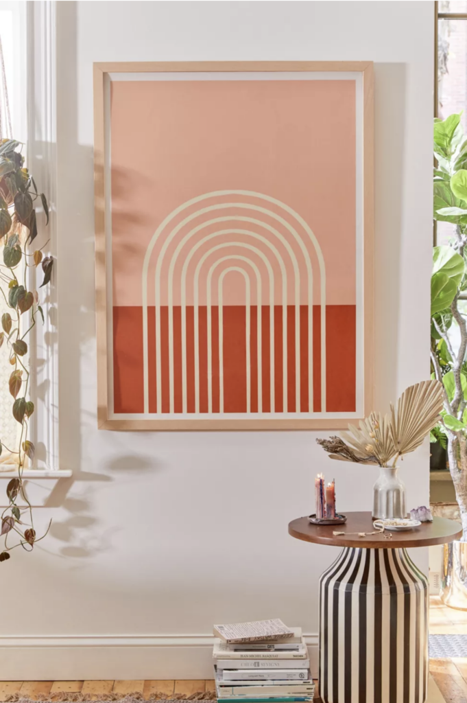 EARTH TONES: Terracotta Bedroom Ideas and Paint Colors - Grace Terracotta Pastel Art Print via Urban Outfitters