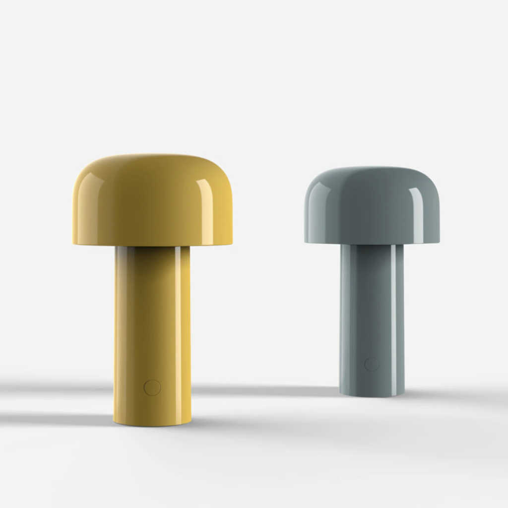 RETRO ROUND-UP: 70s Style Mushroom Lamps - Image via Flos, feat. 'Bellhop LED Portable Table Lamps'