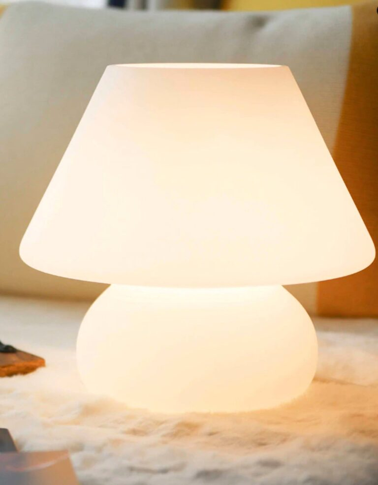 Image via High Five Naturals (Etsy), feat. 'Murano Style Glass Mushroom Lamp in White'