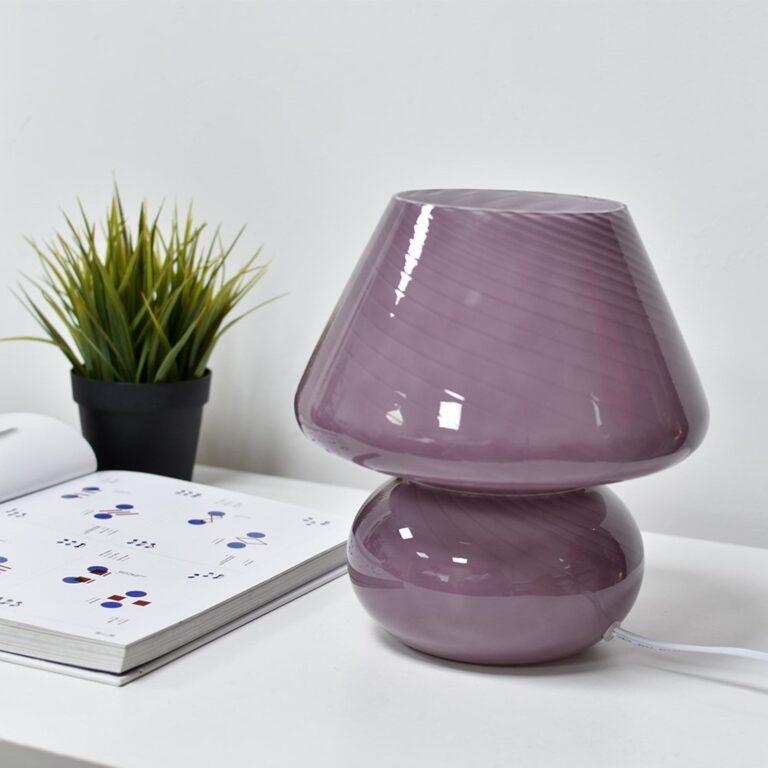 RETRO ROUND-UP: 70s Style Mushroom Lamps - Image via The Collector's Edit (Etsy), feat. 'Striped Lavender Mushroom Table Lamp'
