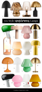 RETRO ROUND-UP: 70s Style Mushroom Lamps - Pursuit Decor - feat. Murano inspired Mushroom Lamps, Snoopy Lamps, MCM Lamps, Mid Century Modern Lighting ideas.
