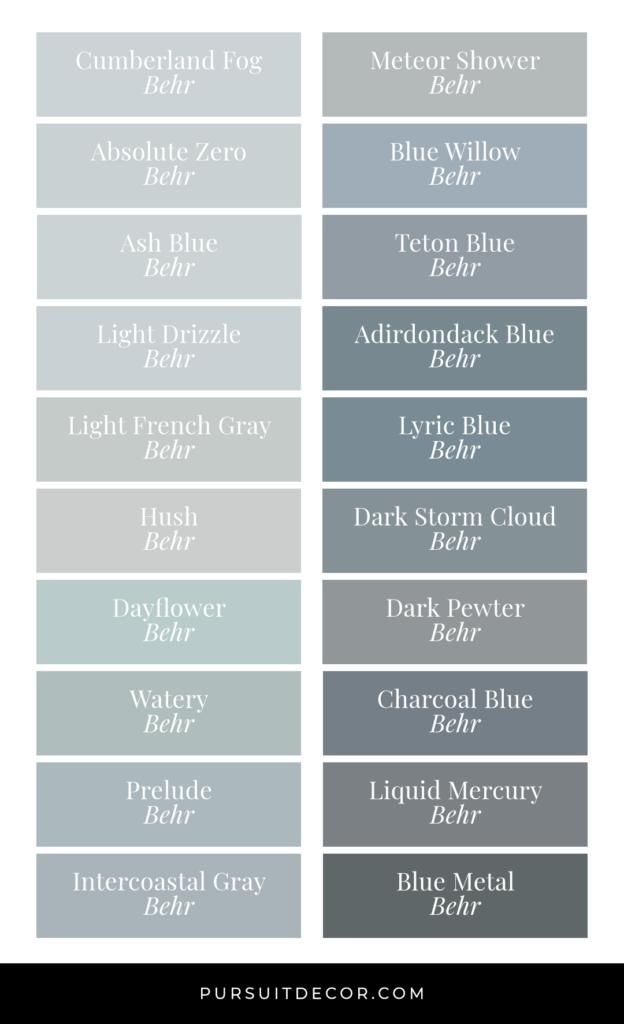 Best of Behr: Blue Gray Paint Colors