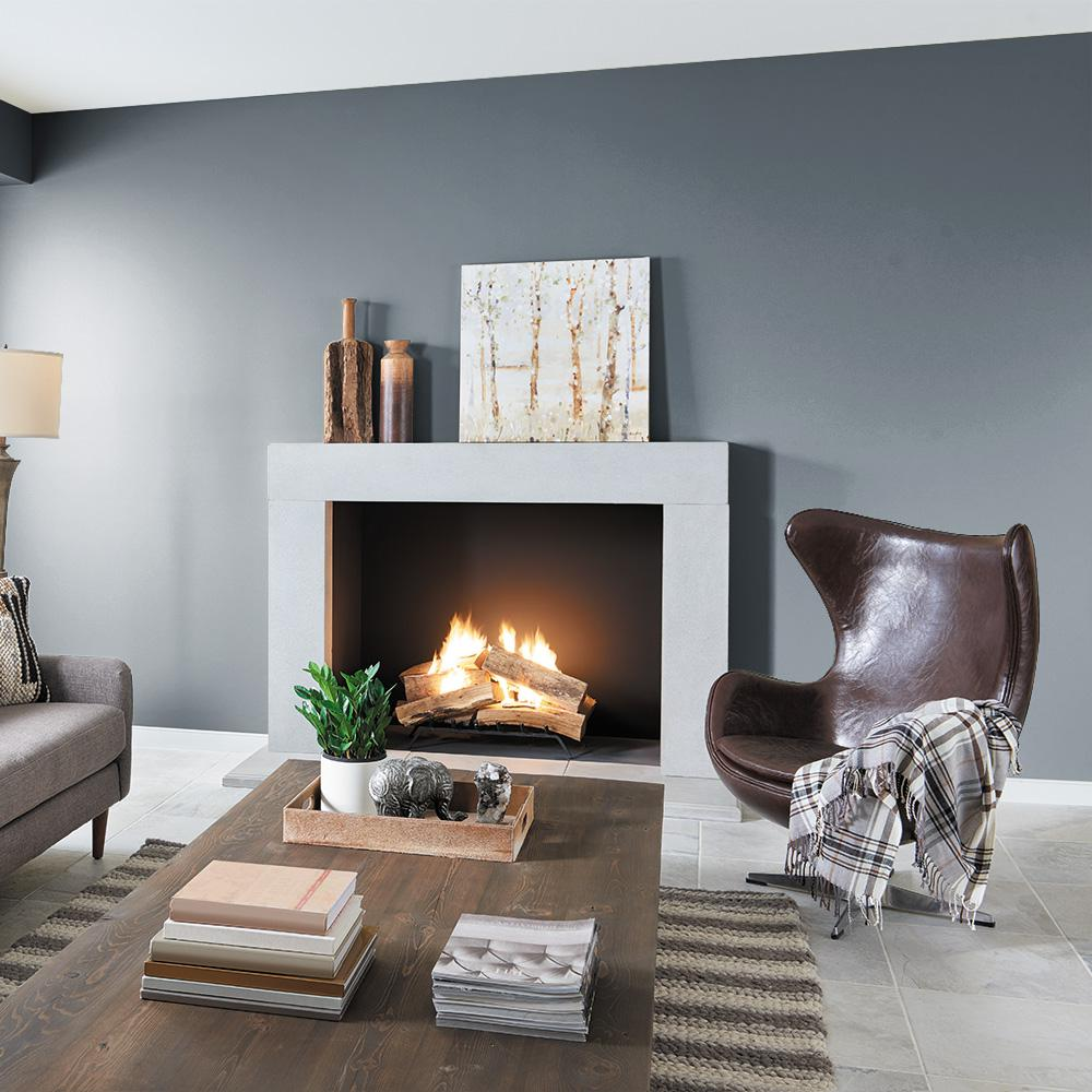 Image via Home Depot, feat. wall paint color: 'Charcoal Blue' by Behr
