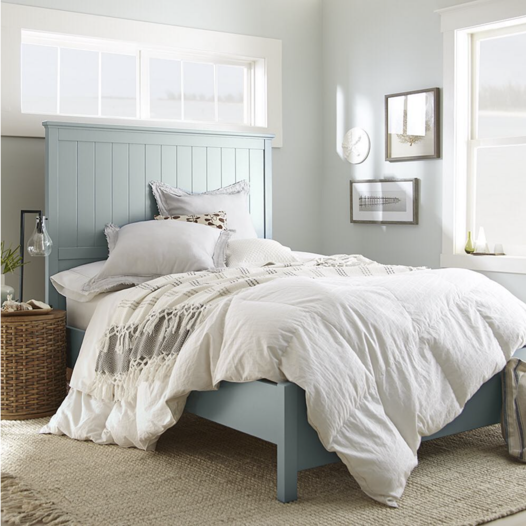 Image via @behrpaint, feat. bed frame paint color: 'Watery' by Behr