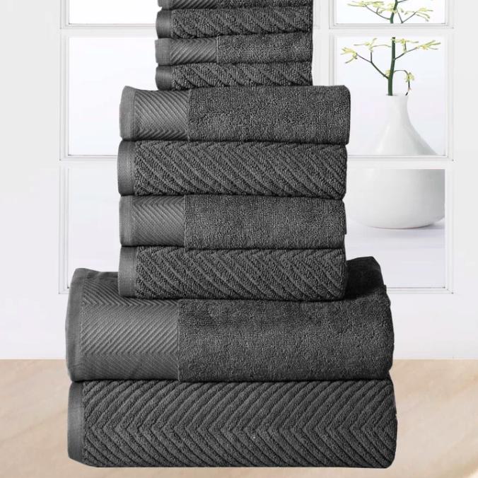 Ribbed gray bath towels via Wayfair