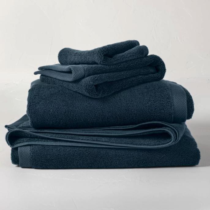 What Color Towels Work Best for Gray Bathrooms? Luxury deep navy blue bath towels via Target