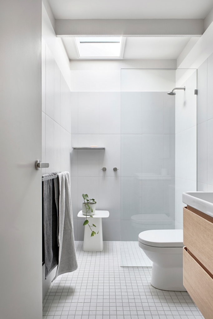 Image by Winter Architecture via Houzz, large format bathroom tiles, gray bathroom