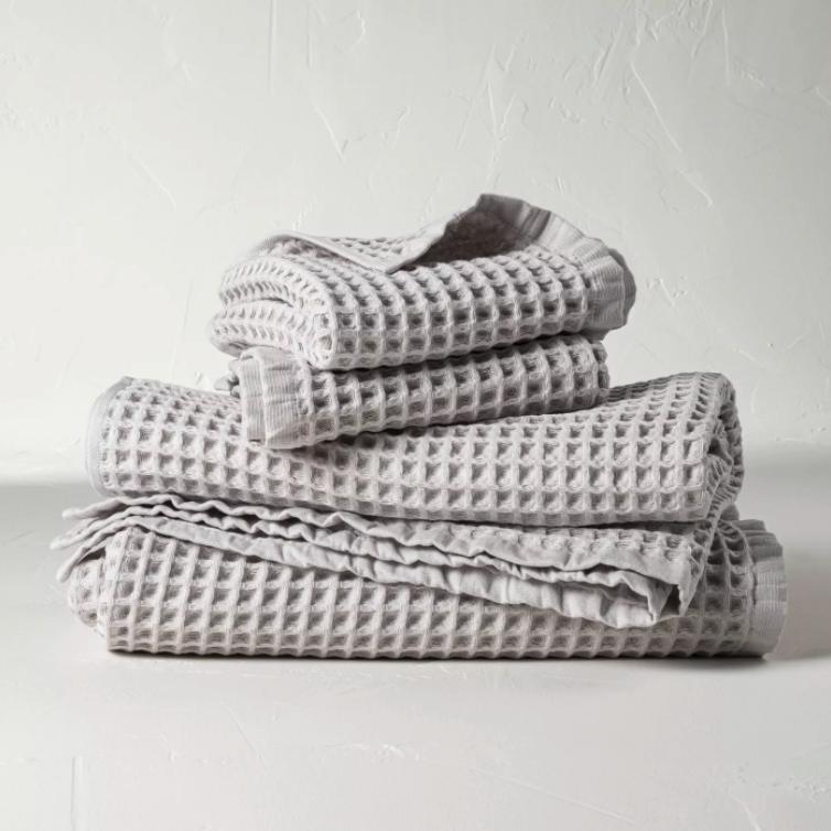 Gray waffle knit bath towel via Target