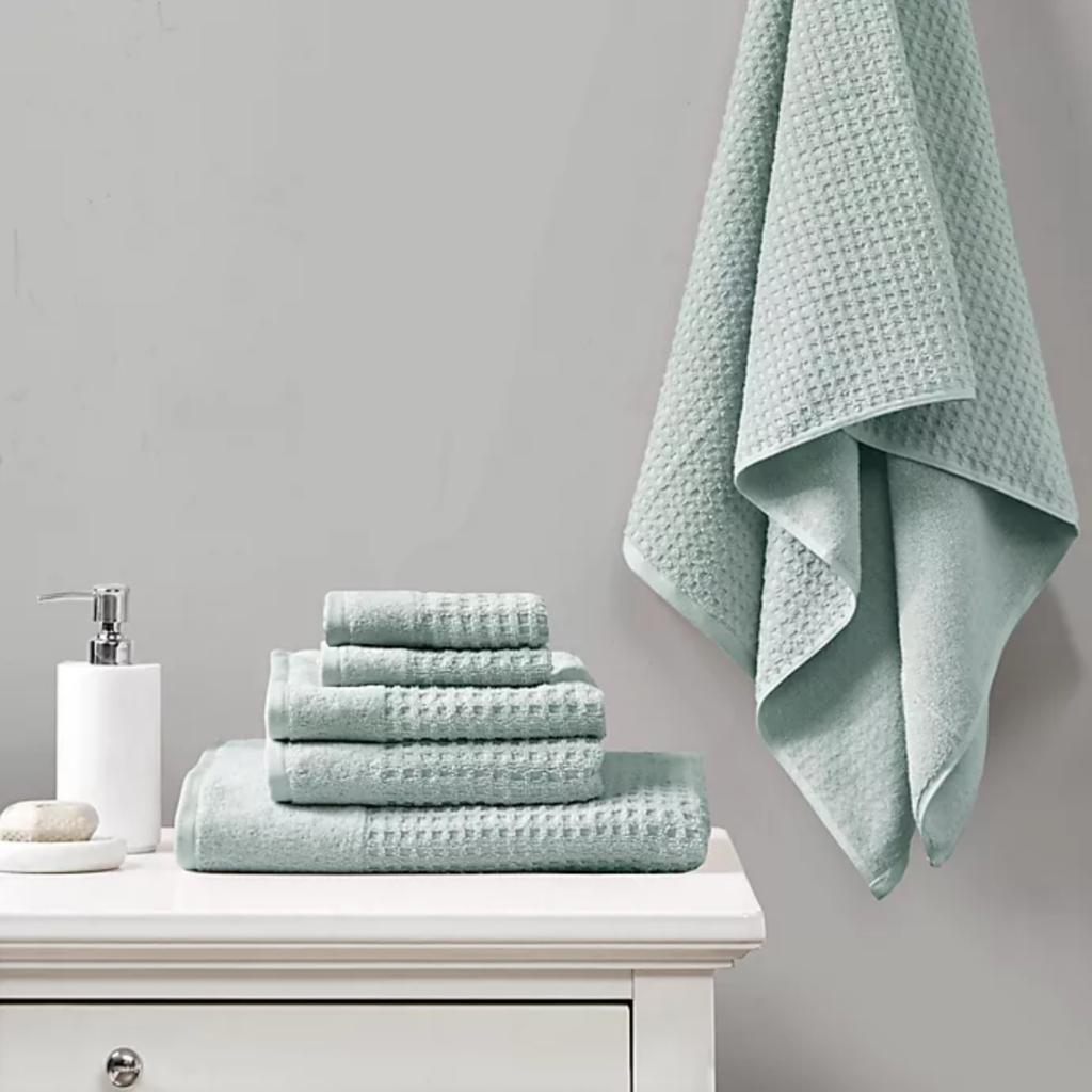 Seafoam waffle knit bath towels via Bed Bath & Beyond