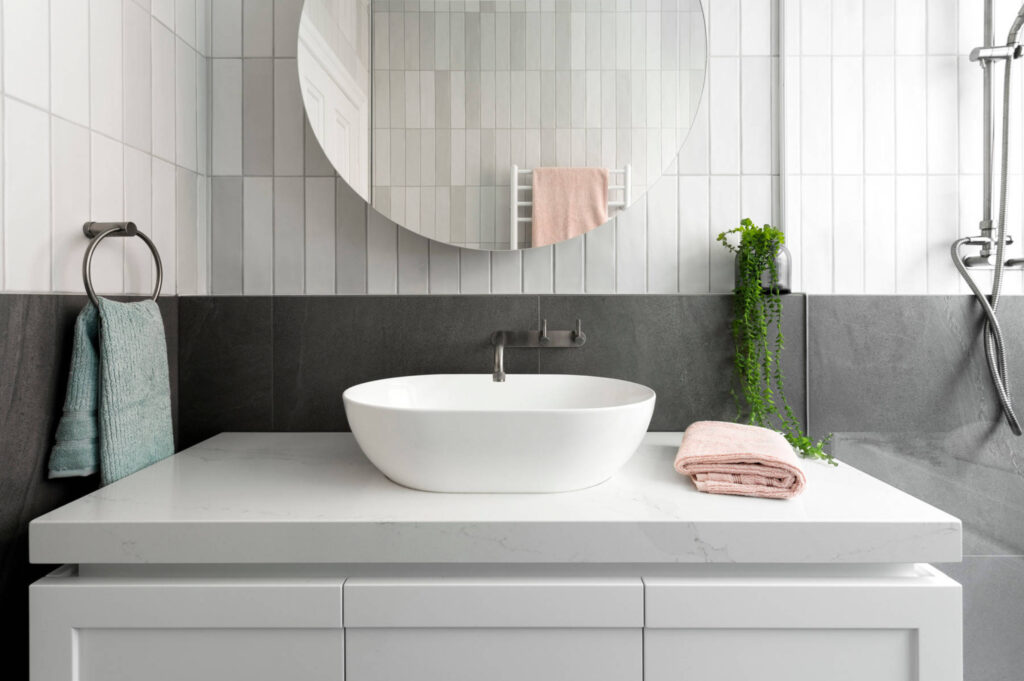 What Color Towels Work Best for Gray Bathrooms? Image by GIA Bathrooms & Kitchens via Houzz