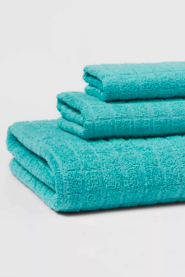 Light teal bath towels via Target.