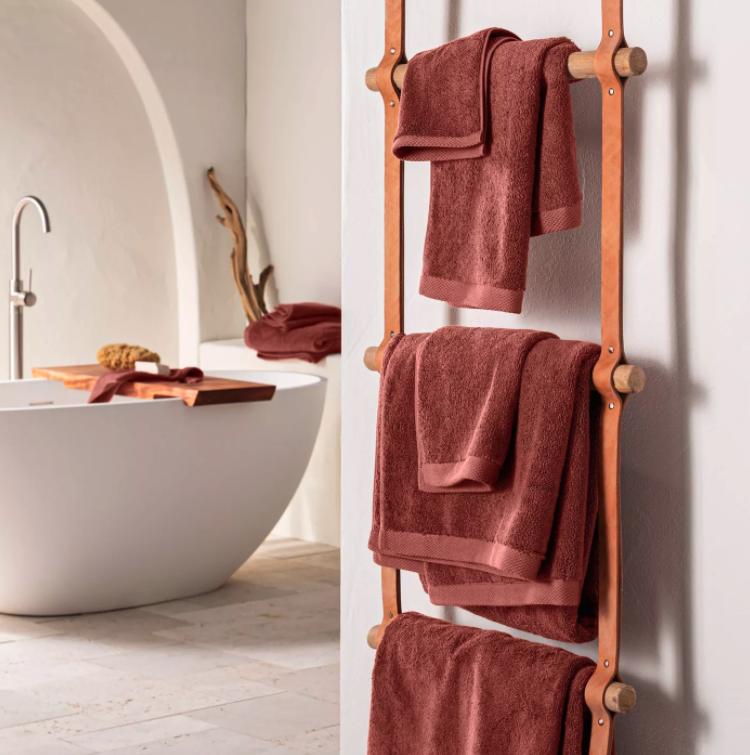 What Color Towels Work Best for Gray Bathrooms? Terracotta bath towels via Target