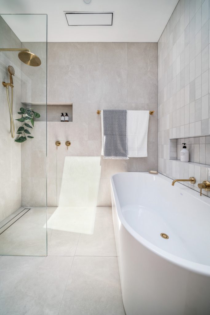 What Color Towels Work Best for Gray Bathrooms? Image by GDP Interior Design via Houzz