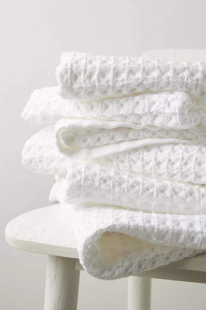 Waffle knit white bath towel via Anthropologie