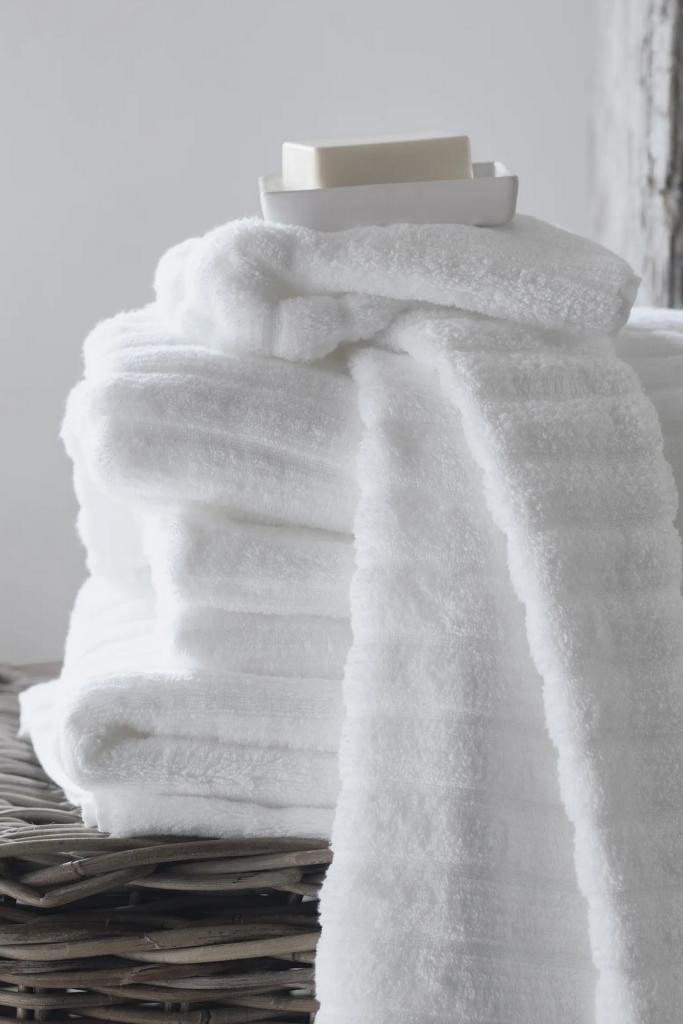 Ribbed white bath towel via Nordstrom