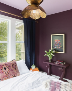 12 Luxe Eggplant Paint Colors in Action (With Color Names) - Image via @allison.crawford, photo by @alyssarosenheck feat. wall paint color: 'Brinjal' by Farrow & Ball