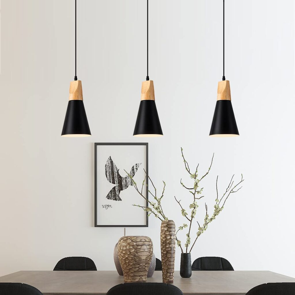 Modern Metal and Wood Pendant Lighting via Amazon