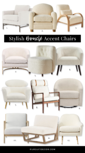 12 Stylish Boucle Accent Chair Options - featuring chairs from popular furniture brands such as West Elm, Z Gallerie, Anthropologie, All Modern, Everly Quinn, Orren Ellis, Project 62 and Babyletto