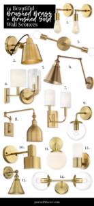 14 Beautiful Brass and Brushed Gold Wall Sconces - 14 affordable brushed brass and brushed gold wall sconce options available via Amazon, Wayfair, Target and All Modern. #brushedbrass #brushedgold #wallsconces #homedecor