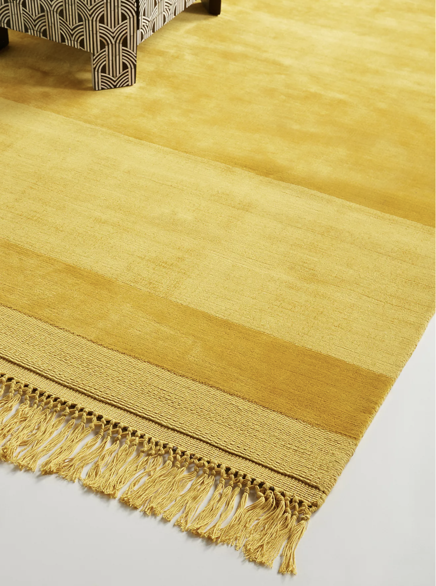 Handloomed Striped Viscose Rug in Maize via Anthropologie