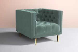 Mina Chair in Duck Egg with Brass Legs via Anthropologie, Sage Green accent chair