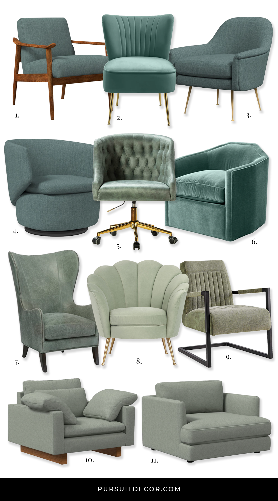 Stylish Sage Green Accent Chair Options - features chairs from West Elm, Wayfair, Anthropologie, Amazon, Cost Plus World Market and One Kings Lane