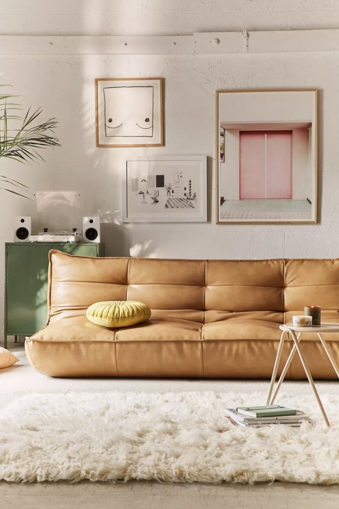 30+ Togo Replica Sofa Options and Togo Sofa Alternatives feat. the Greta Recycled Leather XL Sleeper Sofavia Urban Outfitters