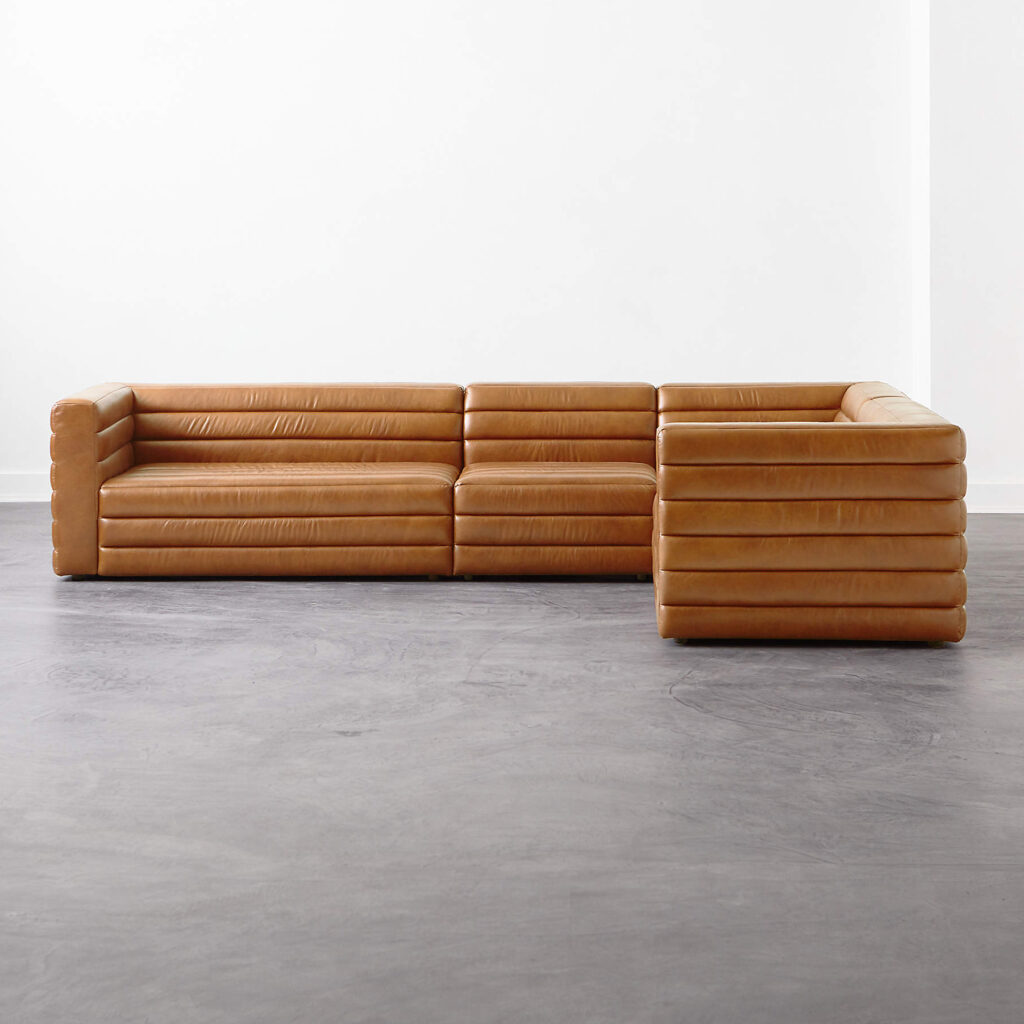 Strato 4-pc Leather Sectional Sofavia CB2