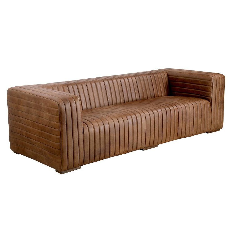 Aurelle Home Rustic Channel-Stitched Leather Sofavia Overstock