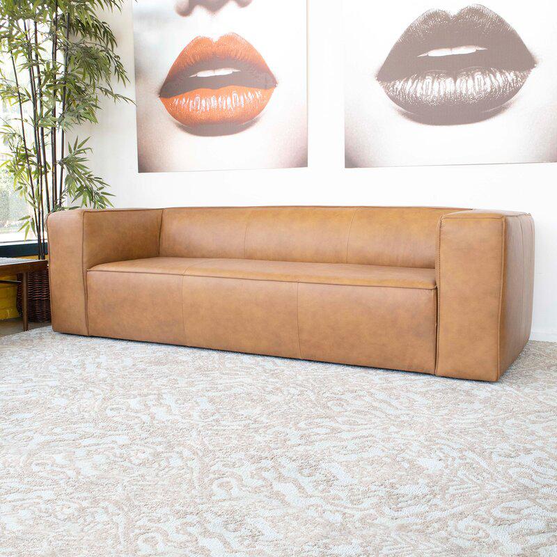 Industrial Lodge Home 'Colton' Genuine Leather Tuxedo Arm Sofavia Wayfair