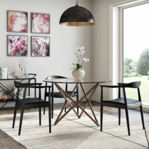 30 Black Wishbone-Inspired Dining Chair Options and Alternatives - Photo via Overstock feat. 2XHome 'Kennedy' Solid Oak Arm Chair