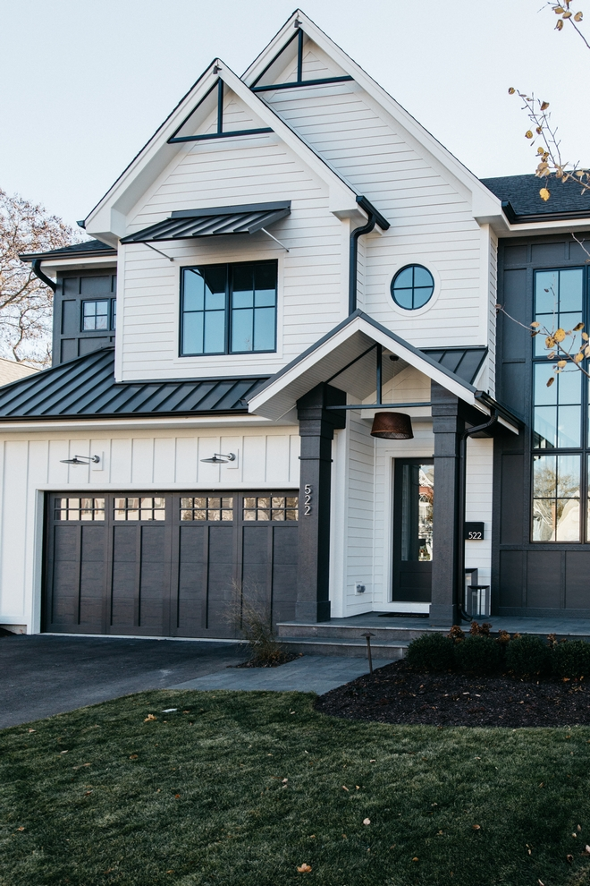 Beautiful Dark Gray Exterior Paint Colors in Action - Image via Home Bunch, feat. paint color: 'Iron Ore' by Sherwin Williams