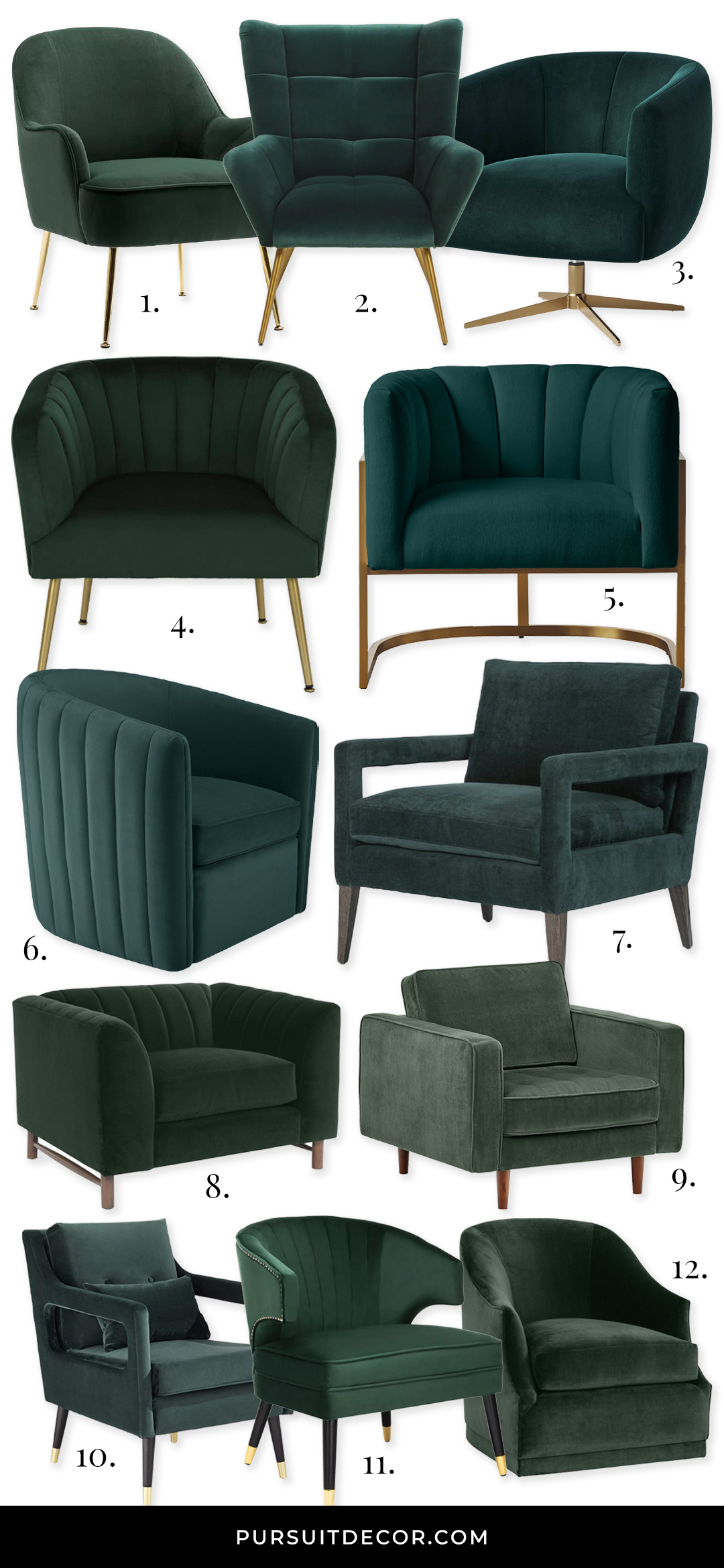 12 Gorgeous Hunter Green Accent Chair Options - feat. chairs from Wayfair, Target, Amazon, One Kings Lane and ZGallerie. #huntergreen #greenaccentchair #huntergreenchair