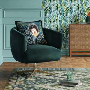 12 Gorgeous Hunter Green Accent Chair Options feat. Opalhouse Morpho Swivel Velvet Armchair in Forest Green via Target