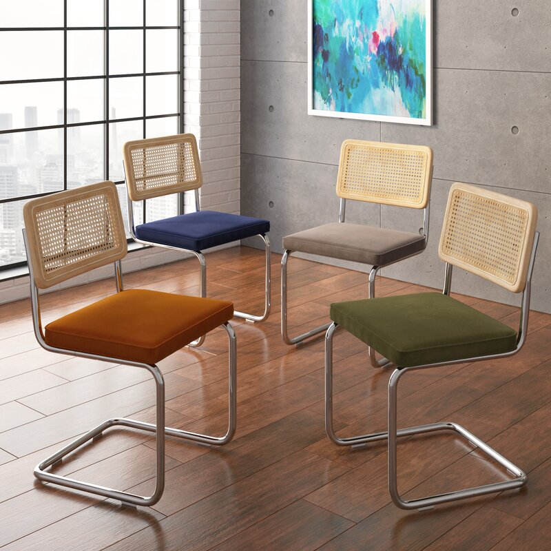 20+ Cesca Chair Replica Options And Stylish Cane Chair Alternatives - feat.'Cassana' Velvet Upholstered Steel Dining Chair via All Modern