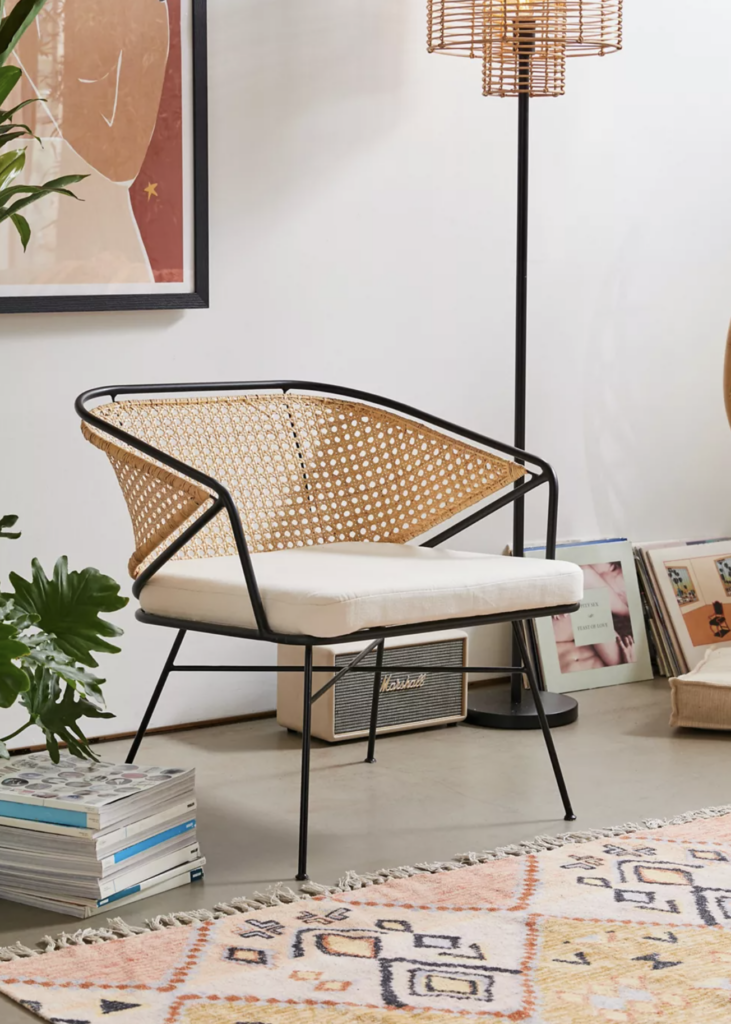 'Carole' Rattan and Metal Chair via Urban Outfitters