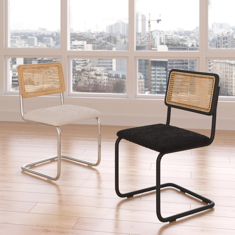 20+ Cesca Chair Replica Options And Stylish Cane Chair Alternatives - feat. 'Cassady' Upholstered Steel Dining Chair via All Modern